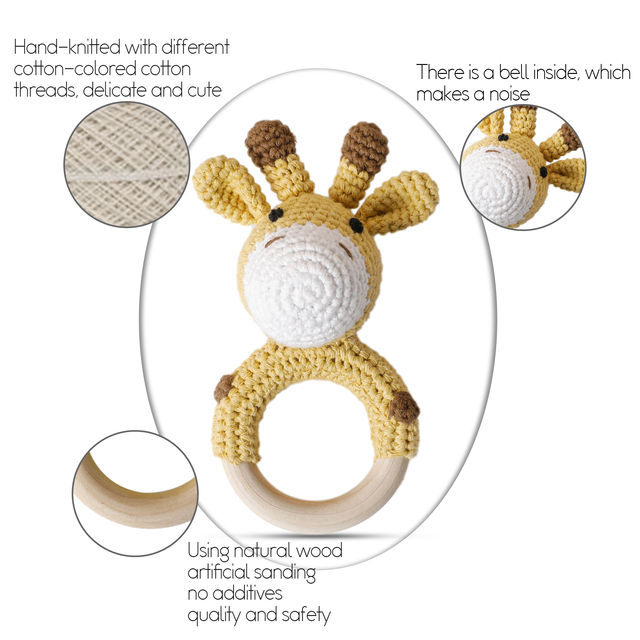 Bopoobo 1pc Baby Teether Safe Wooden Toys Mobile Pram Crib Ring DIY Crochet Rattle Soother Bracelet Teether Set Baby Product 3