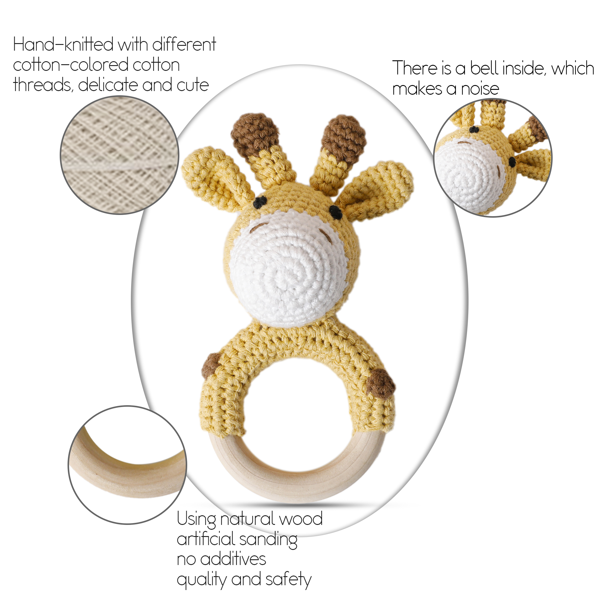 Bopoobo 1 buc Baby Teether sigur jucării din lemn cărucior mobilă - Jucării pentru bebeluși și copii mici - Fotografie 3