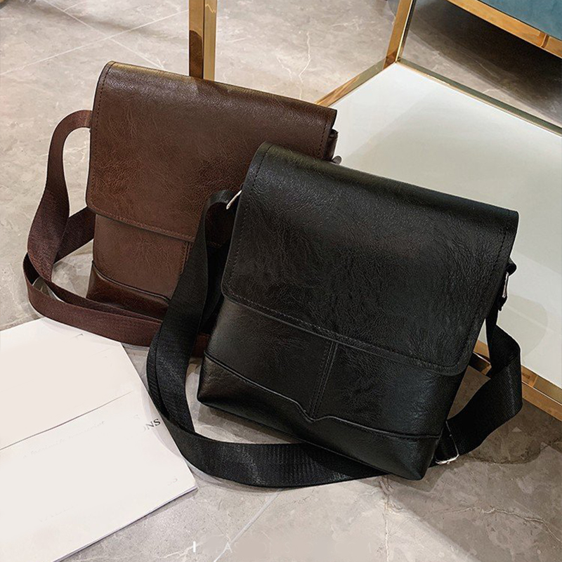 Fashion Men's Handbag Designer Leather Business Diagonal Handbag Briefcase Solid Color Classic Bag