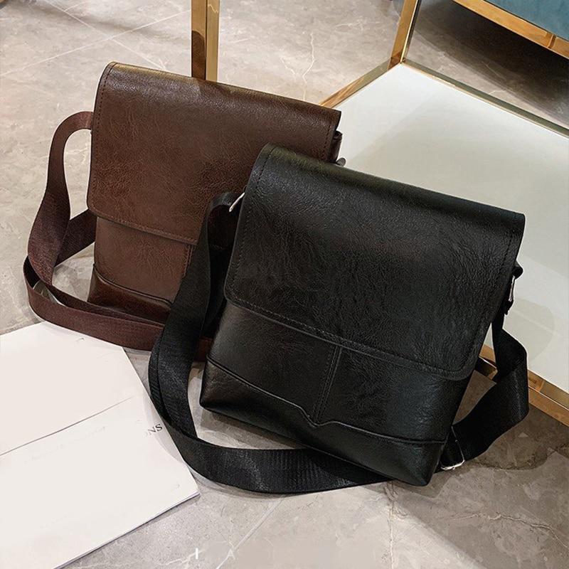Fashion Men's Handbag Designer Leather Business Diagonal Handbag Briefcase Solid Color Classic Bag