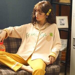 Image 3 - Женская одежда для осени и зимы, пижамные комплекты, одежда для сна, милая мультяшная Пижама, Женская Хлопковая пижама с длинным рукавом для женщин