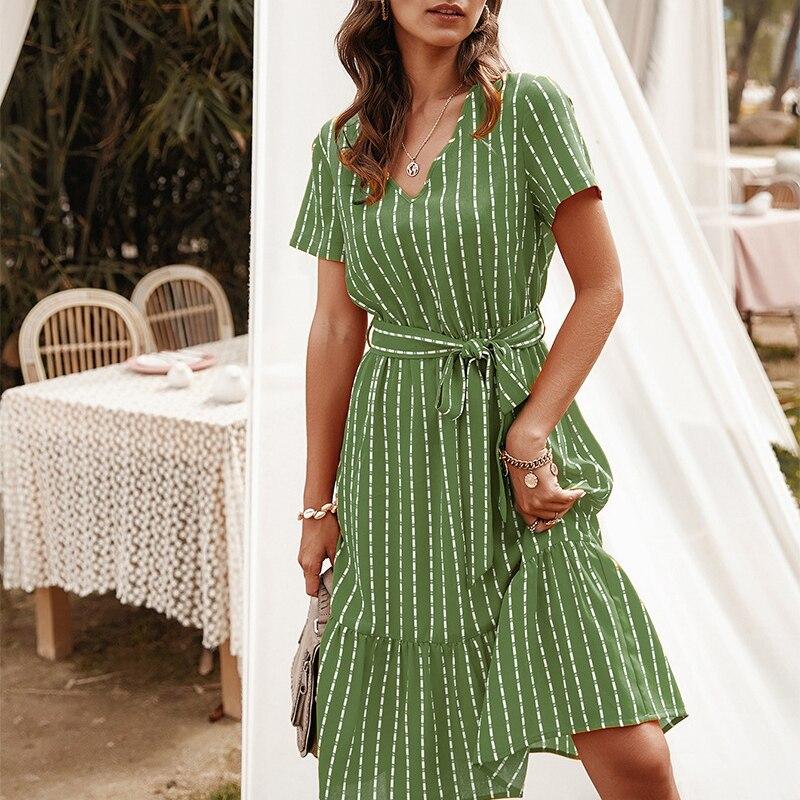 Летнее модное зеленое платье ATUENDO для женщин, повседневные богемные длинные платья макси с коротким рукавом, пикантное богемное платье с вы...