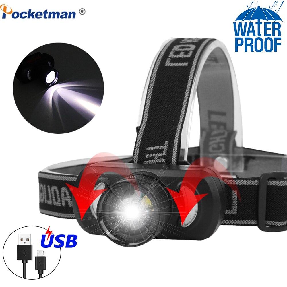 60000LM USB Aufladbare Scheinwerfer Rot Licht Blau Licht Kopf Licht Zoom Leistungsstarke USB Fahrrad Licht Wasserdicht für Outdoor Mit