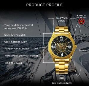 Image 2 - Kazanan resmi moda otomatik izle erkekler İskelet mekanik erkek saatler Top marka lüks paslanmaz çelik kare kol saati
