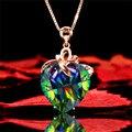 Очаровательные женские с разноцветными кристалами в форме сердца кулон из розового золота цепочки ожерелья для женщин Радуга синий зелены...