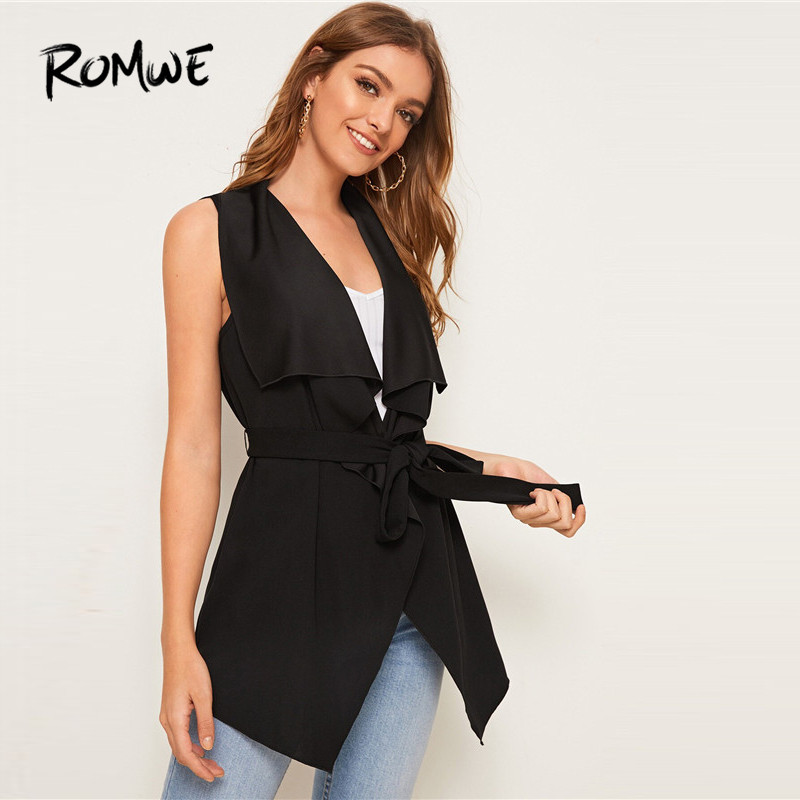 ROMWE Solid Waterfall Collar Belted Vest Women Fall 2019 Casual Black Outerwear Long Vest Ladies Sleeveless Coat Cardigans