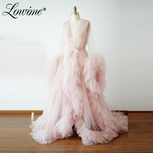 Pink Deep V Neck Evening Dress Robe De Soiree Long Sleeves Illusion Tulle Aibye Pageant Party Dresses 2020 Prom Gowns Vestidos
