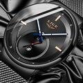 LIGE, новинка, роскошные Брендовые мужские деловые часы, водонепроницаемые кварцевые аналоговые наручные часы с сетчатым ремешком, мужские ч...