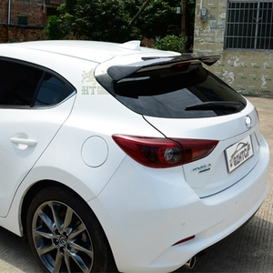 Image 3 - Carbon Fiber Exterior Rear Spoiler Tail Trunk Boot Wing Decoration Car Styling For Mazda 3 Axela Hatchback 2014 2015 2016 2017
