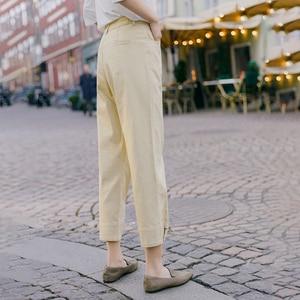 Image 3 - INMAN 2020 printemps nouveauté littéraire couleur Pure taille haute bouton jambe ouverture neuf cent navet femmes pantalon