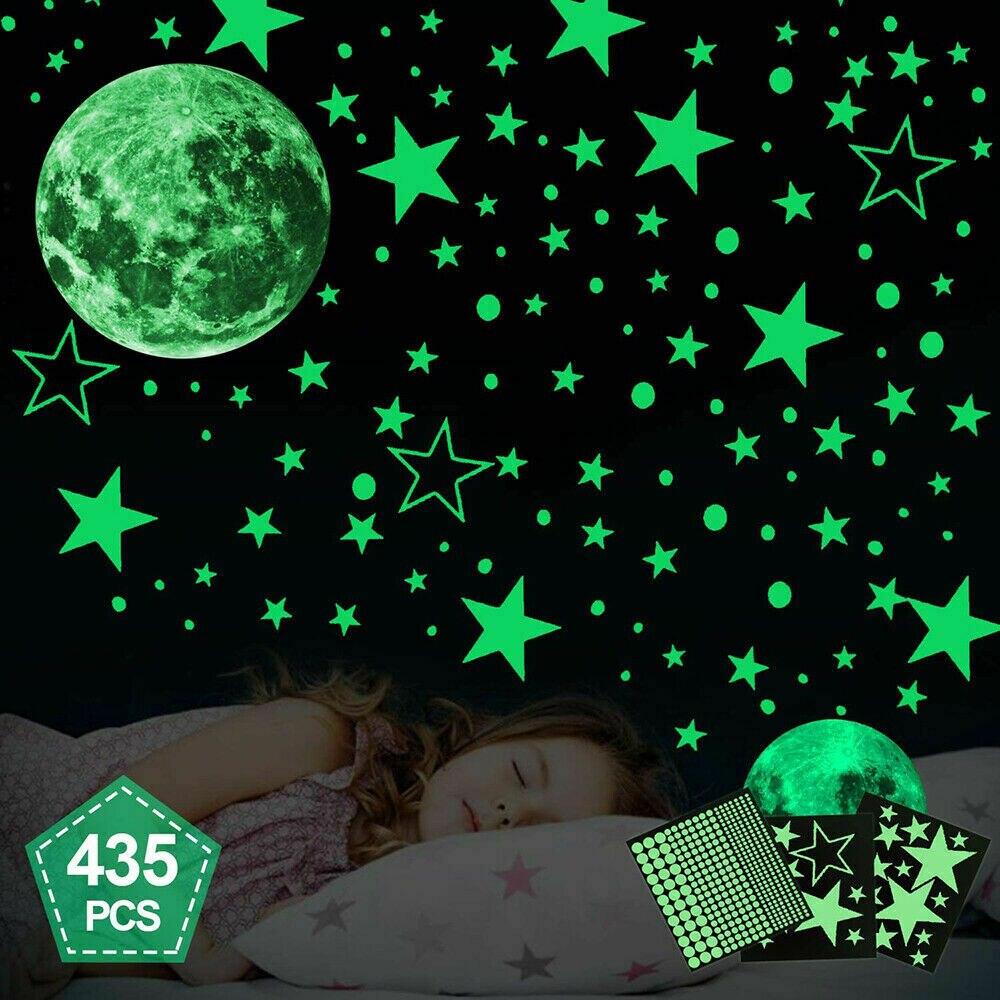 435pcs Glow In The Dark Luminous Stars & Moon Wall Stickers Decal Kid Room Decor Waterproof vinyl material Wall Ceiling Decal