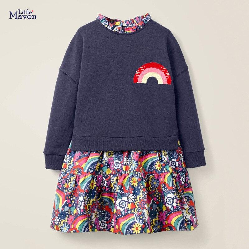 Little maven Children Elegant Dress for Girl Rainbow Sequin 6 year Girls Clothes Autumn Girls Party Dress Kids Party Dress 5