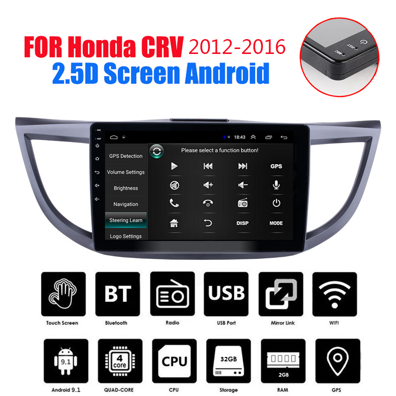 10.1 inch Android 9.1 GPS Navigation Car Radio Stereo For 2012-2016 Honda CRV Head Unit Car Multimedia Audio Player Wifi BT 2DIN image