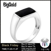 Anillo de Plata de Ley 925 para hombre y mujer, anillo de plata tailandesa con esmalte negro rectangular para hombre y mujer, joyería Unisex