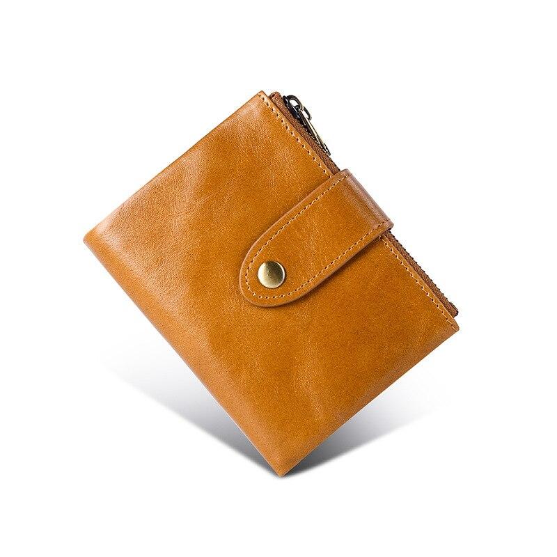 Men's Wallet Oil Wax Real Cowhide Double Zipper Rfid Multi-function Japanese Vintage Wallet