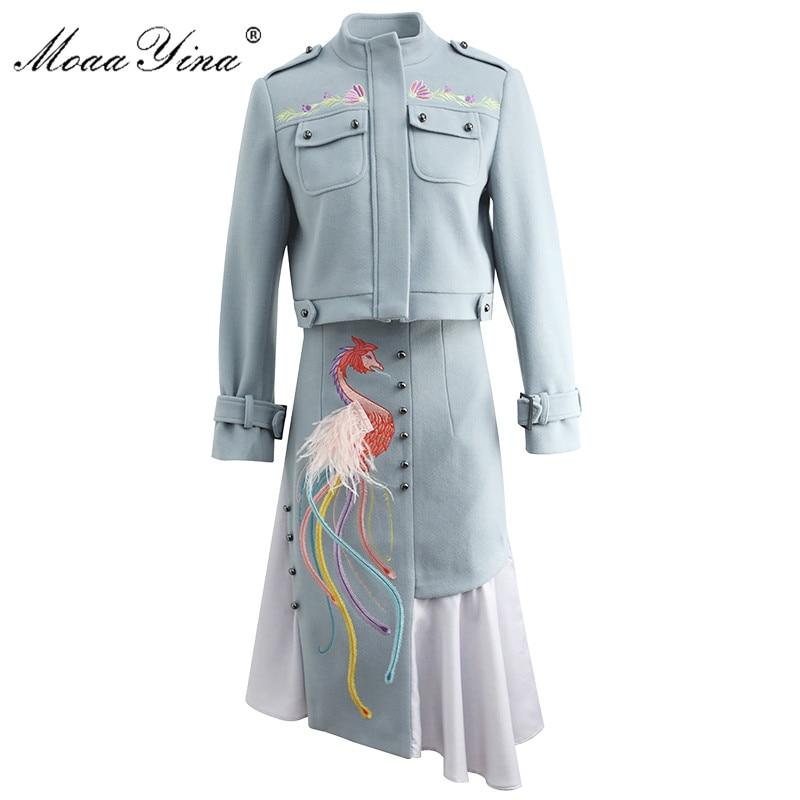 MoaaYina Fashion Designer Set Spring Summer Women Long Sleeve  Embroidery Windbreaker Jacket Coat+feathert Skirt Two-piece Set