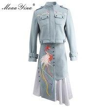 MoaaYina Fashion Designer Set Spring Summer Women Long sleeve  Embroidery Windbreaker jacket Coat+feathert Skirt Two piece set