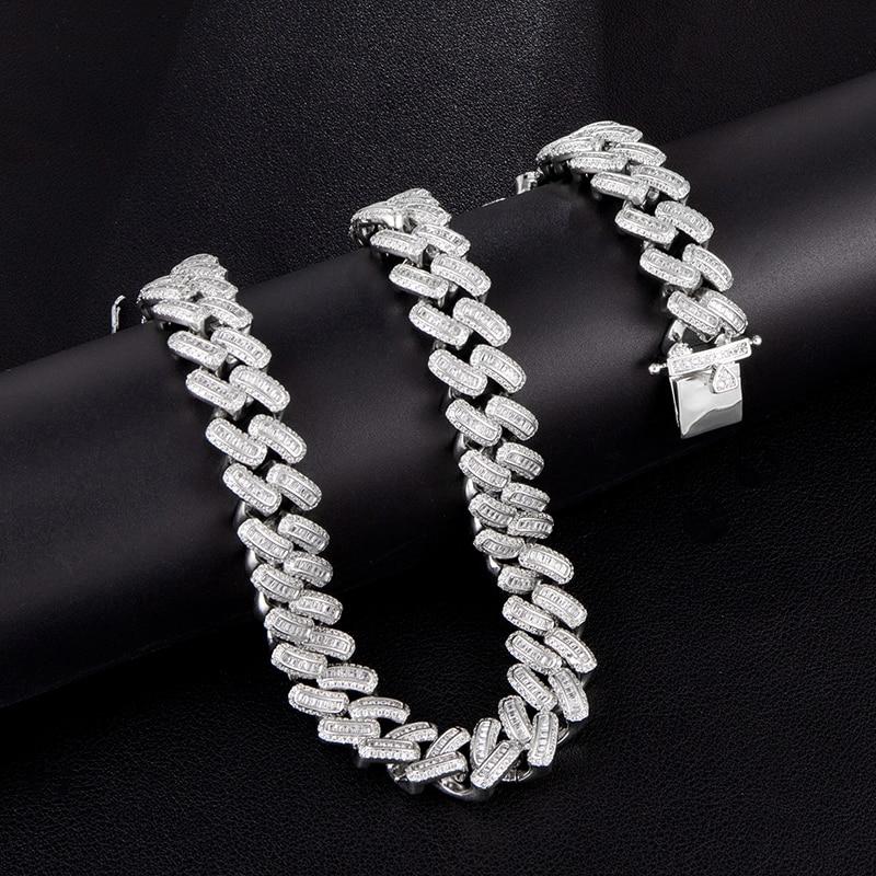 15MM Bling glacé AAA CZ carré zircone lien cubain chaîne collier pour hommes cuivre colliers pour hommes Hip Hop bijoux - 4