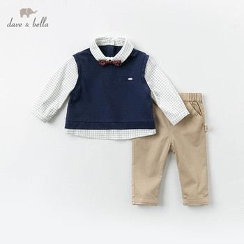 DB12935 dave bella baby boys handsome clothing sets long sleeve pants suits children clothes