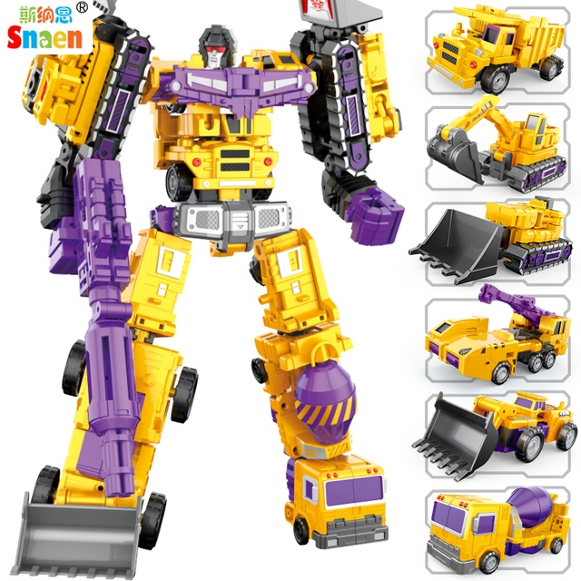 Transformation Robot Action Figures Diecast Engineering Deformed Toy Cars Blocks Assemble Educational Toys for Childrens Boys 1