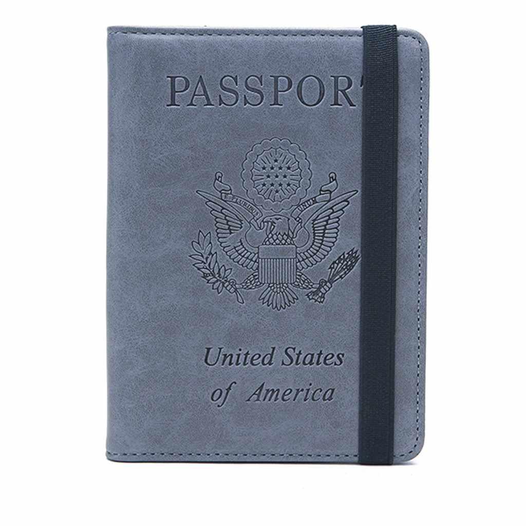 Vintage passeport nouveau neutre antivol en cuir passeport couverture solide voyage utile portefeuille support organisateur couverture livraison directe # GEX
