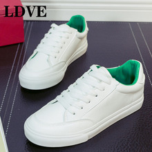 цена на Women Casual Shoes 2019 New Women Sneakers Fashion Breathable PU Leather Platform White Women Shoes Soft Footwears Lady Flats