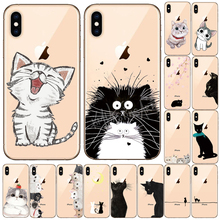 Cartoon Phone Case For iPhone 11 Pro X XS Max XR Cute Cat Cover For iPhone 5 5S SE 8 7 6 6S Plus Soft Silicone Transparent Case