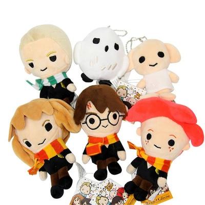Harri Potter Plush Dolls Slytherins Draco Malfoy Gryffindor Ron Hermione Dobby Hedwig Owl Cute 8-13cm Cotton Toys For Kids