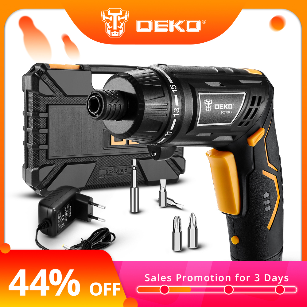 DEKO GCD3.6DKB 4V Cordless Electric Screwdriver Household Rechargeable Screwdriver with Twistable Handle & 45 Piece Accessories web page