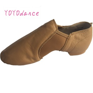 Image 4 - Toddler Professional Jazz Dance Shoes Kids Slip on Sneakers Geniune Leather Shoe for Girls Tan Black Shoes for Baby