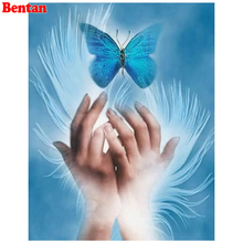 3D Diamond Embroidery blue hands butterfly Cross Stitch Full Square round Drill Diy Diamond Painting Fantasy art Needlework