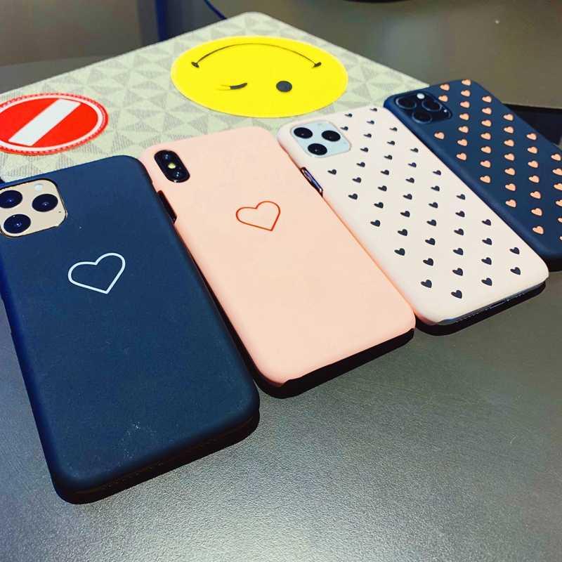 Kẹo Màu Trái Tim Mờ Nhựa PC Cứng Tẩy Tế Bào Chết Ốp Lưng Điện Thoại Cho Iphone X 10 11 Pro XS Max XR 7 6 6 S 8 Plus Coque CapA