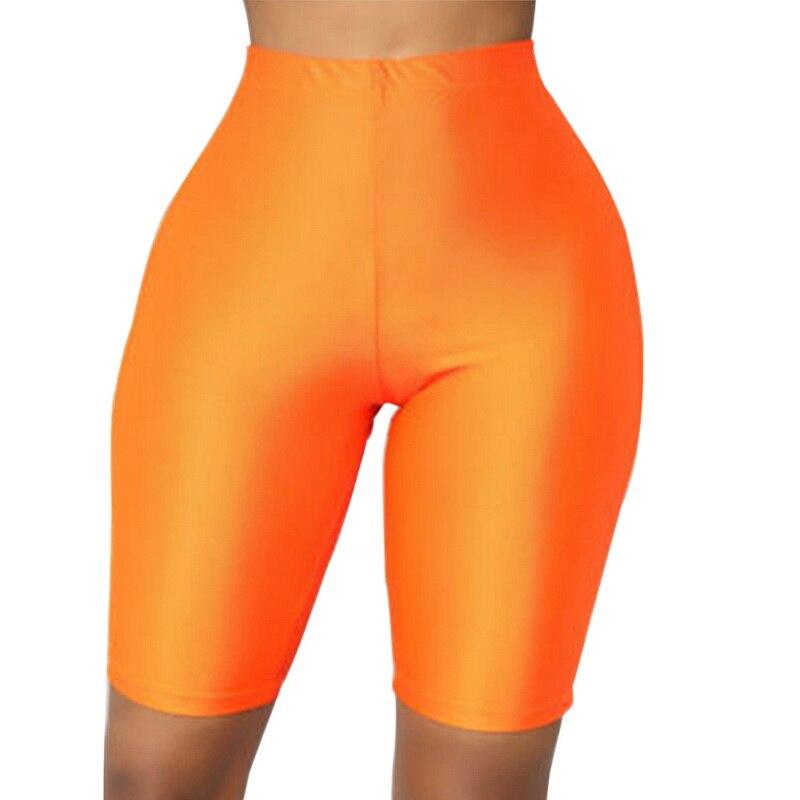 WENYUJH 2019 Tracksuit Slim Casual High Waist Shorts Glossy Fluorescence Biker Shorts  Women Fashion Solid Sexy Booty Shorts New