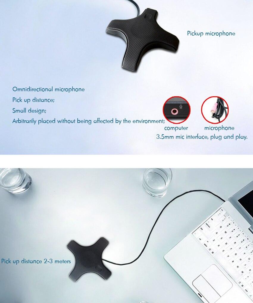Microfone usb de conferência, pc condensador omnidirecional