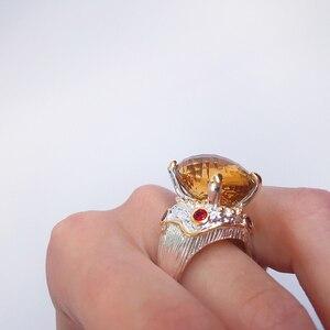 Image 3 - 20*15mm gran Topacio dorado zirconia anillo de joyería de lujo Chapado en plata joyería grande para mujer anillos de cóctel fiesta