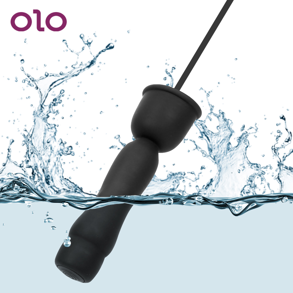 OLO Catheters Sounds  Silicone Masturbator Urethral Dilators 16 Mode Vibrator Penis Plug Sex Toys For Men