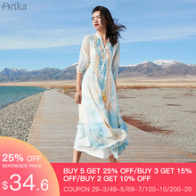 ARTKA 2020 Spring Summer New Women Dress Vintage Print Gradient Color Long Dress Indie Folk V-Neck Tassel Dresses LA20407C(China)