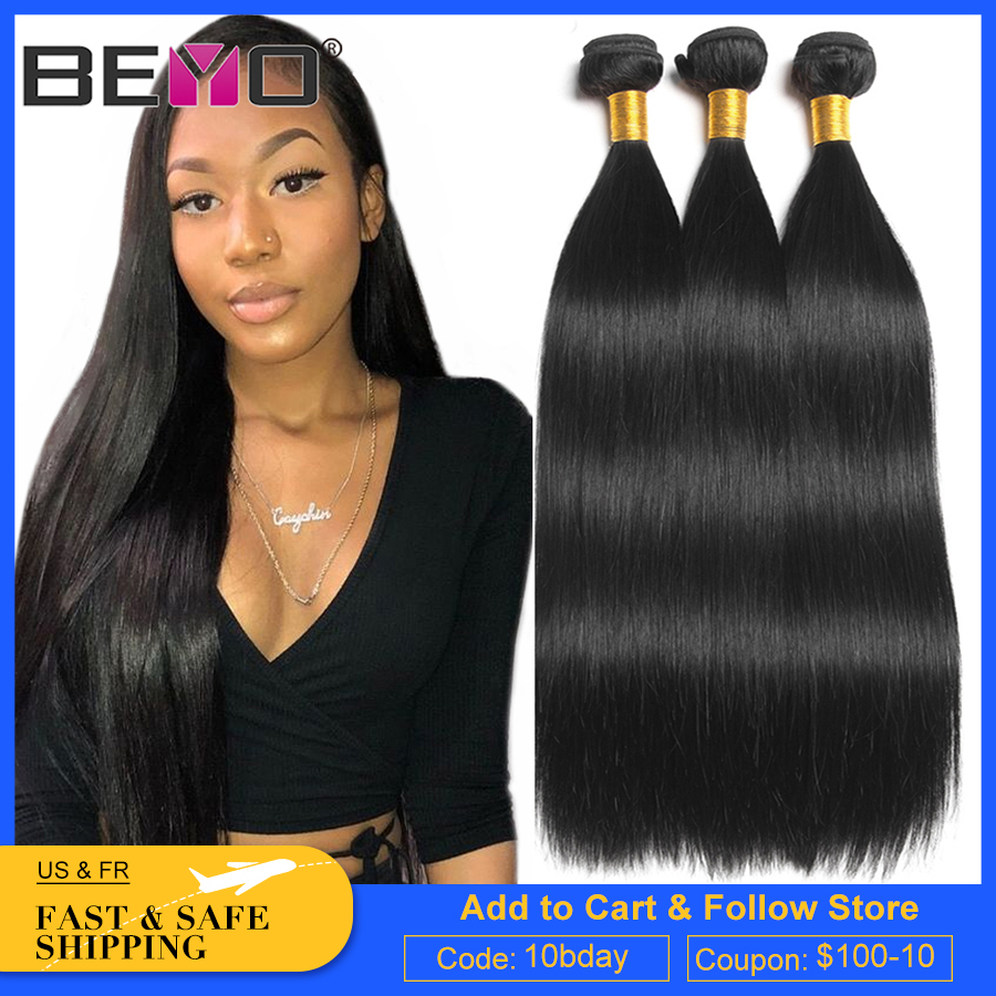 Straight Hair Bundles Indian Hair Weave Bundles 100% Human Hair Bundles 1 / 3 / 4 Bundles Natural Black Hair Extensions Beyo