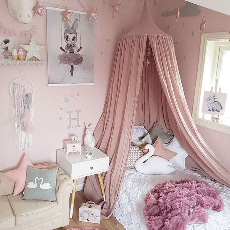 US $23.99 45% OFF Cotton Baby Canopy Mosquito Net Girls Princess Crib Bed  Curtain Children Play Tents House Kids Hanging Tent Room Decor With Star-in  ...
