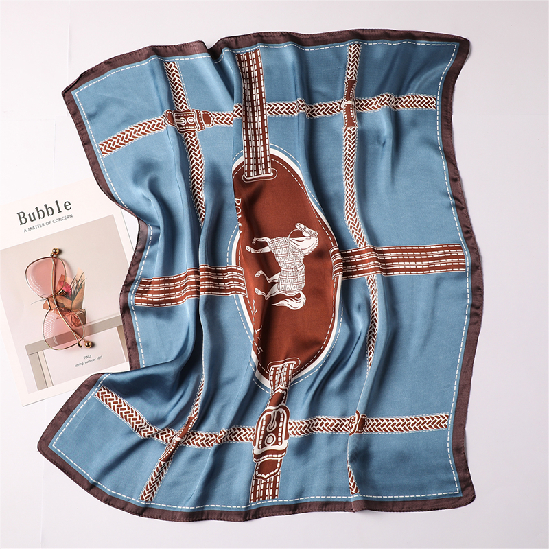 2020 Women Silk Scarf Neck Hair Band Square Scarves Animal Horse Print Lady Small Shawls And Wraps Foulard Head Kerchief