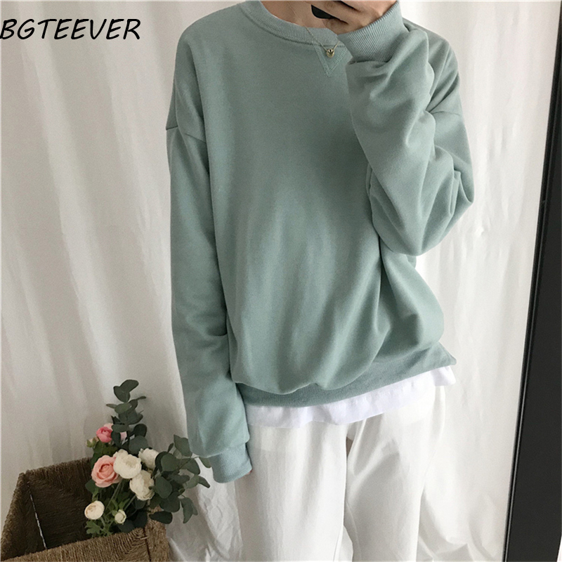 BGTEEVER Solid Color Full Sleeve Women Sweatshirt Basic Loose  Women Tracksuit Female Hoodies Loose Pullovers Sweatshirt 2019