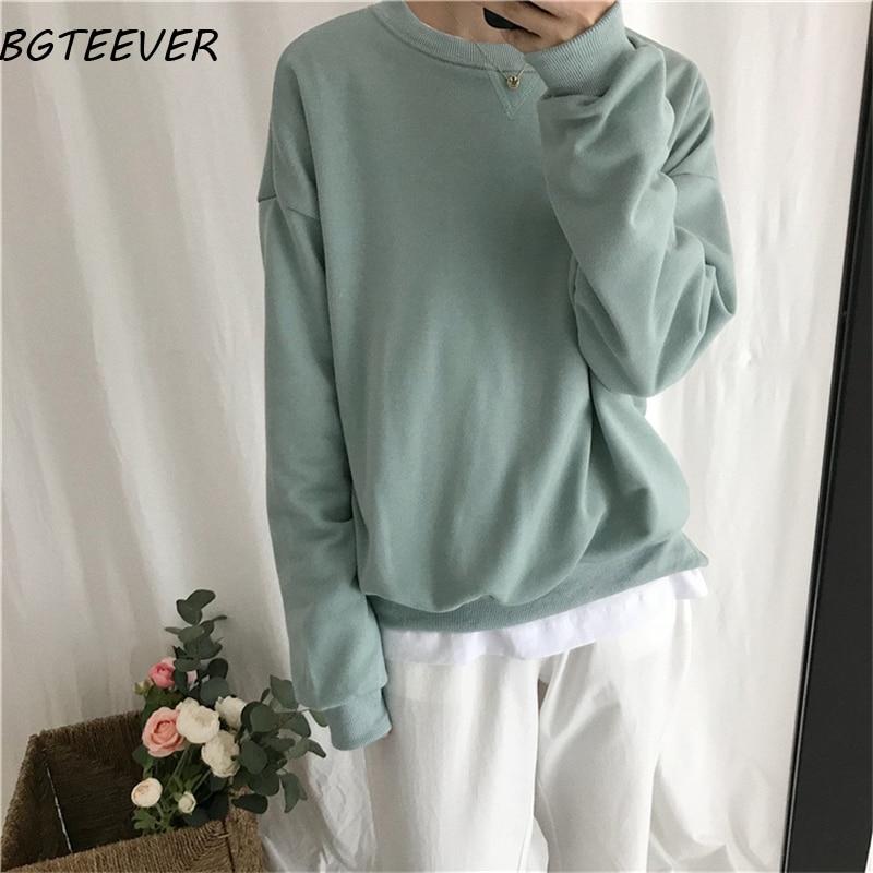 BGTEEVER Solid Color Full Sleeve Women Sweatshirt Basic Loose  Women Tracksuit Female Hoodies Loose Pullovers Sweatshirt 2019