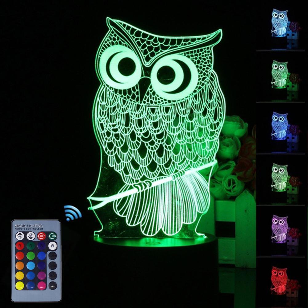 Owl Shape Touch 3D LED Night Light 7 Color Change Table Desk Lamp Home Decor