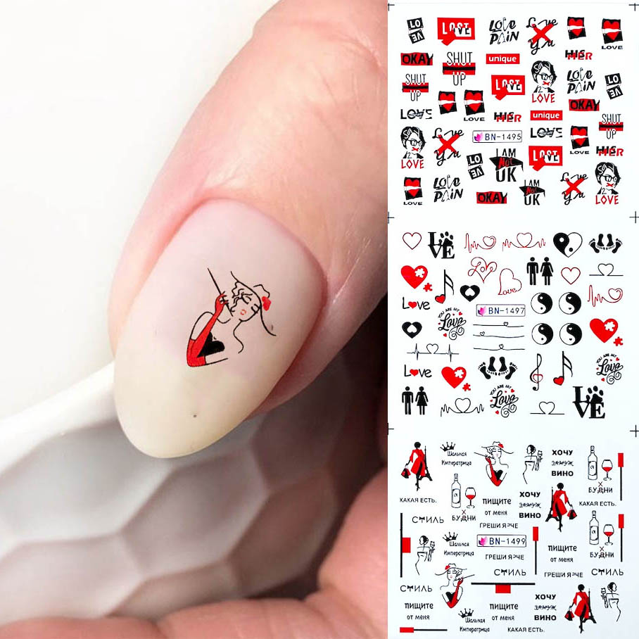 <font><b>12</b></font> Types Russian Letter Nail Water Decals <font><b>Sexy</b></font> Girl Black Wraps Manicure Decoration Tattoo Slider Black Friday Hot MYBN1489 image