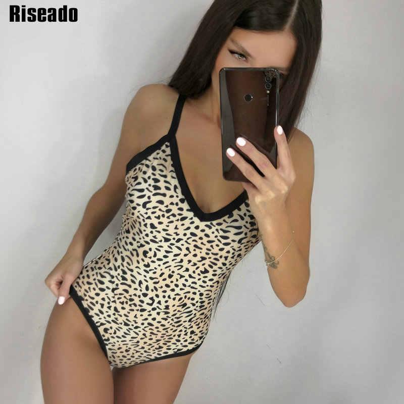 Riseado Леопардовый принт Одна деталь купальник женский купальные костюмы V-Neck Для женщин 2020 Пуш-Ап пляжная одежда купальник для Для женщин, купальный костюм