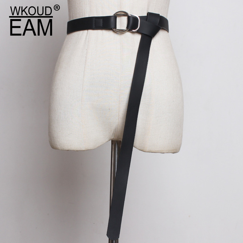 WKOUD EAM 2020 New Fashion Trendy Belt For Women Solid Casual Classical Imitation Leather Metal Buckle Waistband Female ZK005