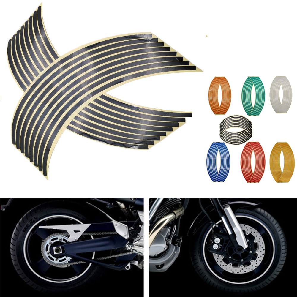 16Pcs Motorcycle Car Wheel Tire <font><b>Stickers</b></font> Reflective Rim Tape Moto Auto Decals For <font><b>Yamaha</b></font> <font><b>WR450F</b></font> WR250R WR250X WR450 image