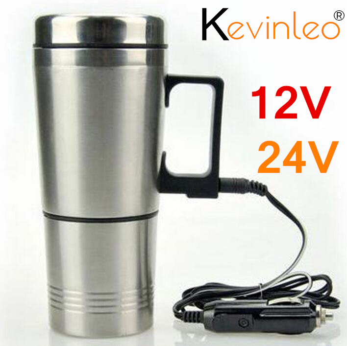 300ml 24v Water Heater Car Heating Cup Stainless Steel Auto Kettle Travel Coffee Tea Heated Mug Motor Cigarette Lighter Plug