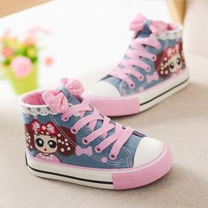 Image 1 - תינוק ילדים סניקרס ילדה קטנה נעלי בד עם תחרה אנטי חלקלק פונקציה עבור בית ספר וקניות