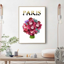 Watercolor Flower Bouquet Red Rose Nordic Posters And Prints Wall Art Canvas Modern Painting Pictures For Living Room